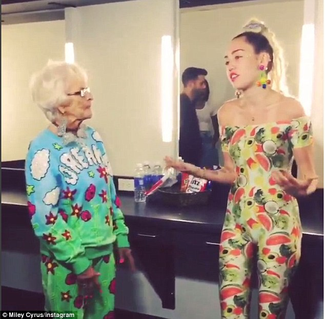 Having a blast: The Wrecking Ball singer hyped up fans by posting a few videos of herself hanging out with the 87-year-old internet personality