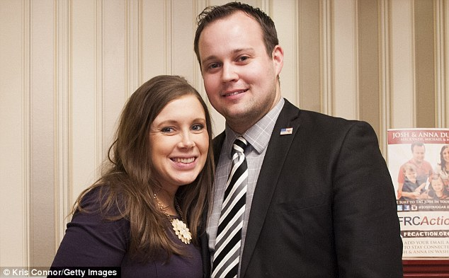Difficult time:The two both spoke about being victims of molestation as minors at the hands of their brother Josh (above with his wife Anna in February)