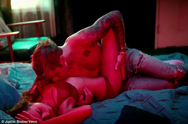 Raunchy: Justin Bieber made sure he gave fans plenty to look at when he finally released the video for What Do You Mean? on Sunday night