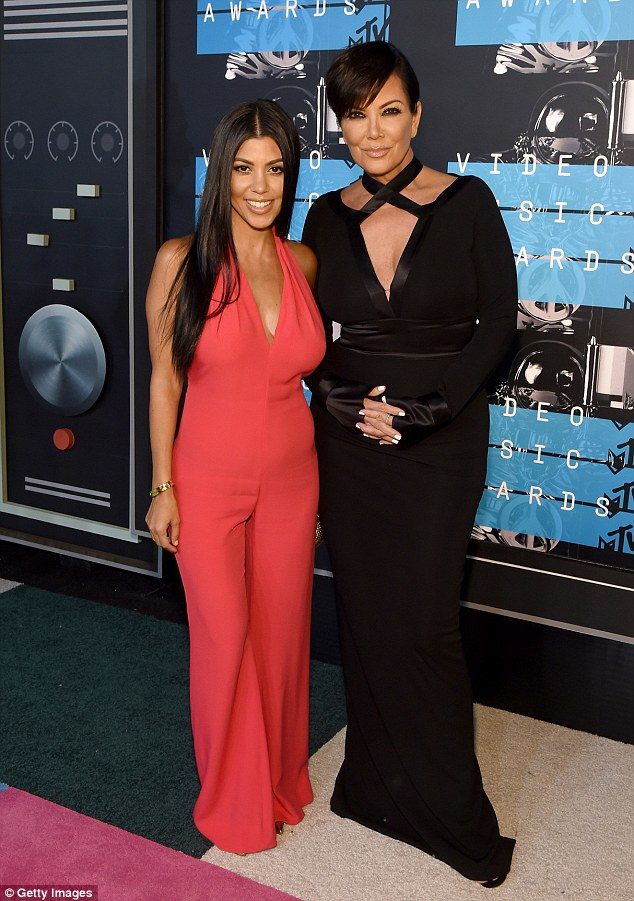 Good genes: Kourtney's mother Kris also attended the MTV Video Music Awards, where she cut a glamorous figure in a floor-length black gown