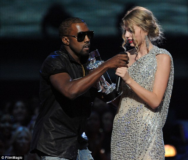 Awkward: Back in 2009, Kanye famously rushed the stage when Taylor accepted her award for Video Of The Year, claiming that his friend Beyonce was a more worthy recipient