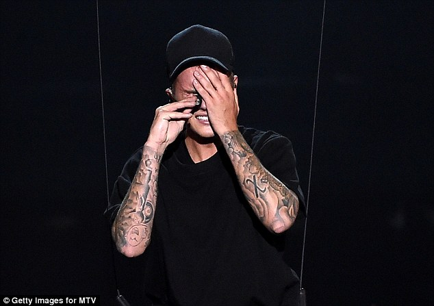 Emotional comeback: Justin broke down in tears after his performance at the MTV Video Music Awards on Sunday