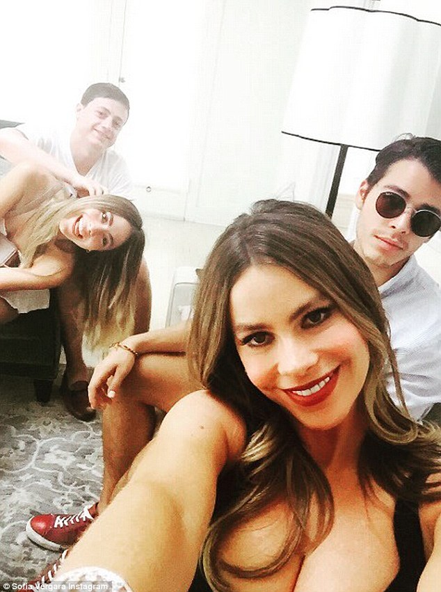 Having fun: Seeming to enjoy her first day of filming in Los Angeles, Sofia posted a selfie that included her son, Manolo (right)