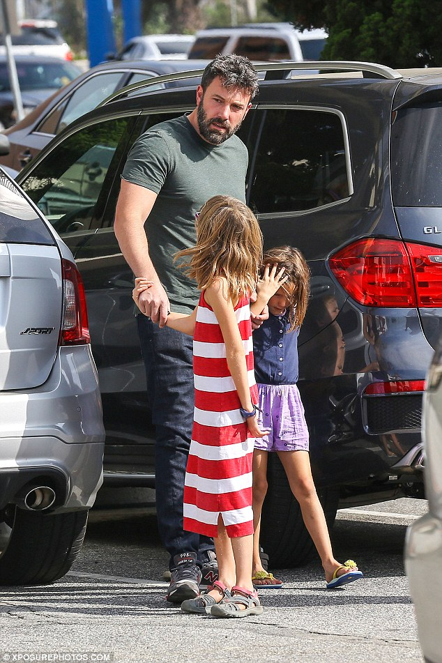 Sharing the care: The day before, the three children stopped by a farmer's market with their mum Jennifer Garner, with Ben and Jen seen spending time separately and together with their kids since their split