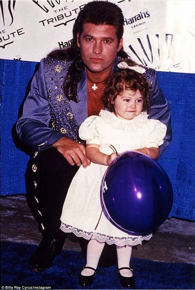 Back in the day: The 22-year-old's father Billy definitely seemed excited about his daughter's hosting debut as he posted this old photo from his heyday in the Nineties ahead of the event