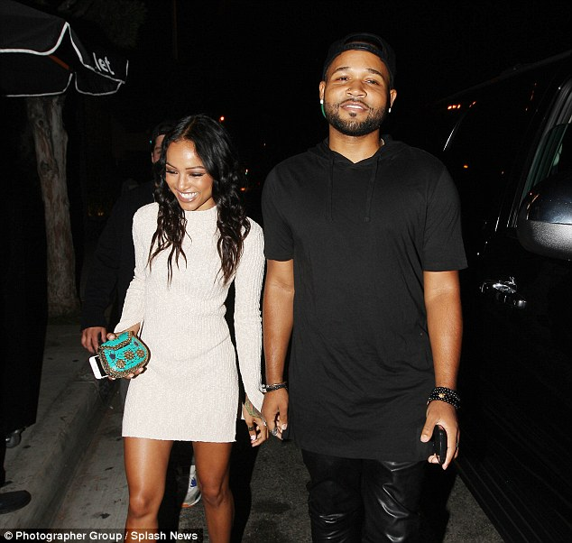 Moving on: Karrueche seemed to be enjoying herself as she attended the awards show after party with friends