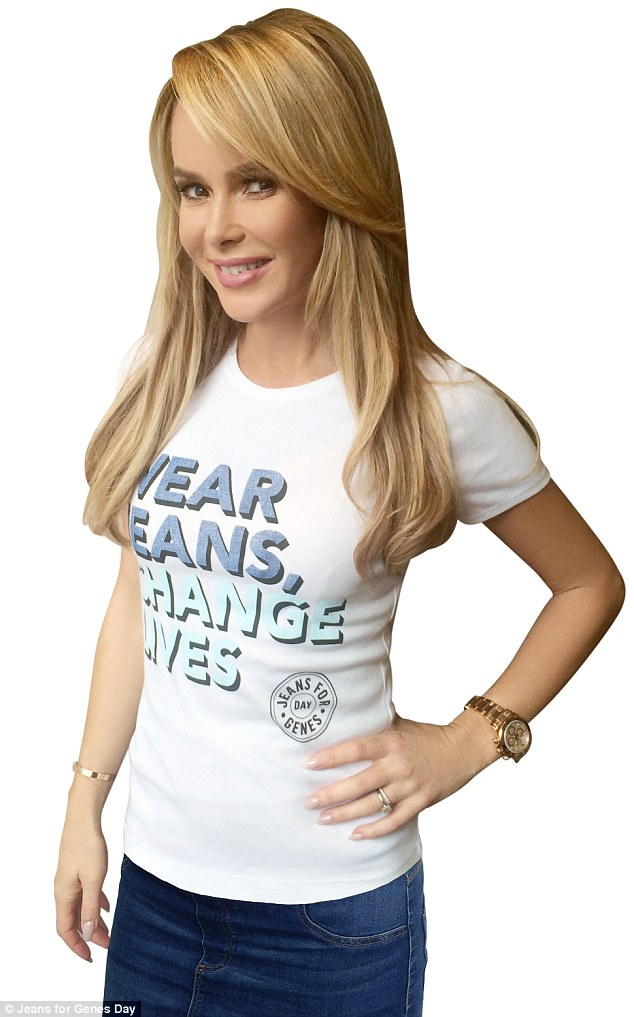 Britain's Got Talent judge, Amanda Holden, looks cool and casual as she models a charity T-shirt for the good cause alongside a host of other famous faces