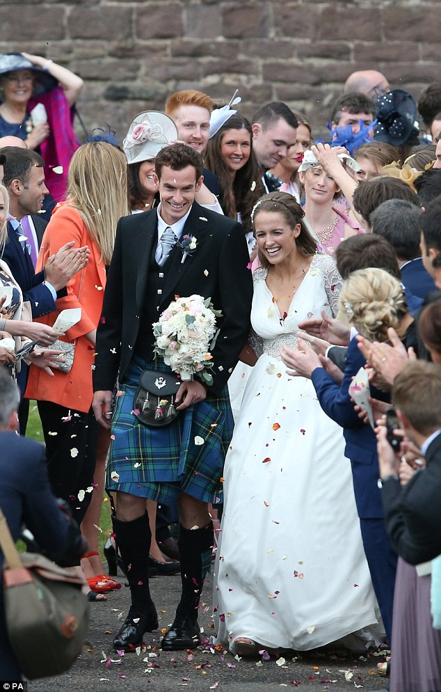 Andy Murray and Kim Sears after their wedding at Dunblane Cathedral this year