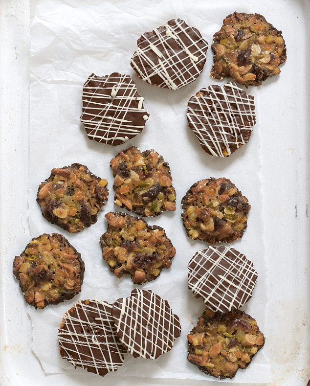 The fruit and nut combination in these elegant biscuits can be varied, but choose a bright combination for a jewelled look