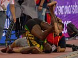 The 29-year-old was toppled by the cameraman and took a painful-looking tumble after he was taken out