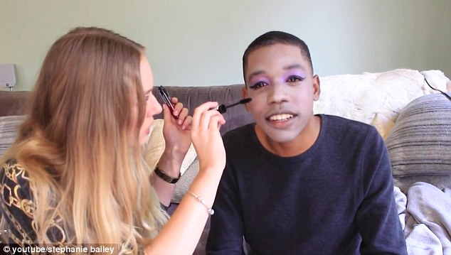 'Channel the Kardashians': Bailey used bold purple, pink and blue eye shadow on Brown's darkly lined eyes