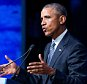 President Barack Obama speaks at the Global Leadership in the Arctic: Cooperation, Innovation, Engagement and Resilience (GLACIER) Conference at Denaíina Civic and Convention Center in Anchorage, Alaska, Monday, Aug. 31, 2015. Obama opened a historic three-day trip to Alaska aimed at showing solidarity with a state often overlooked by Washington, while using its changing landscape as an urgent call to action on climate change. (AP Photo/Andrew Harnik)