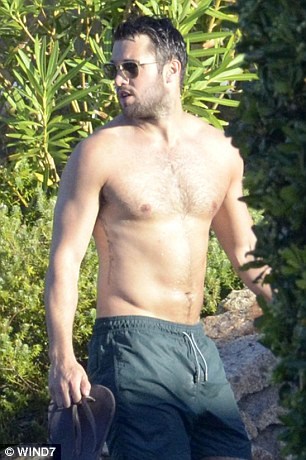Beach babes: Emily Vancamp and boyfriend Joshua Bowman showed off their stunning bathing suit bodies as they hit the beach and the pool while enjoying a romantic getaway in Sardinia on Saturday