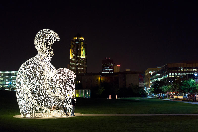 """Jaume Plensa's """"Nomade"""" in downtown Des Moines's Pappajohn Sculpture Park."""