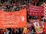 LIVERPOOL, ENGLAND - SEPTEMBER 27:  (THE SUN OUT, THE SUN ON SUNDAY OUT) Flags and banners wave in the Kop of Liverpool before the Barclays Premier League match between Liverpool and Everton at Anfield on September 27, 2014 in Liverpool, England.  (Photo by Andrew Powell/Liverpool FC via Getty Images)