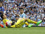 "Manchester City's Sergio Aguero reacts after Chelsea's goalkeeper Asmir Begovic saved a shot during the Barclays Premier League match at the Etihad Stadium, Manchester, England.   PRESS ASSOCIATION Photo. Picture date: Sunday August 16, 2015. See PA story SOCCER Man City. Photo credit should read: Peter Byrne/PA Wire. EDITORIAL USE ONLY. No use with unauthorised audio, video, data, fixture lists, club/league logos or ""live"" services. Online in-match use limited to 45 images, no video emulation. No use in betting, games or single club/league/player publications."