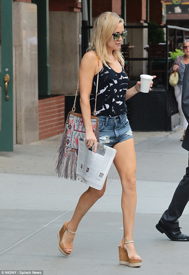 Leggy wonder: Kate Hudson showed off her flawlessly toned legs while stepping out in New York on Friday