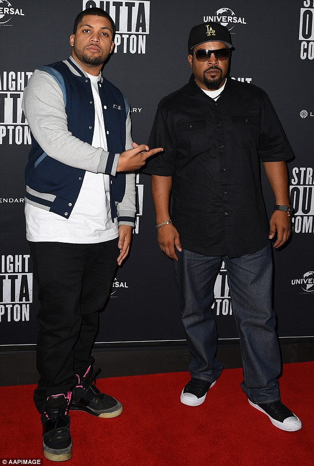 Star power: The 46-year-old is Down Under promoting the Box Office hit movie with his 24-year-old lookalike son, O'Shea Jackson Jr