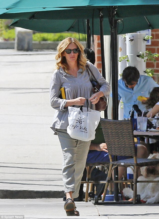 Out and about! Julia Roberts treated herself to a solo lunch and salon session in the Pacific Palisades on Friday