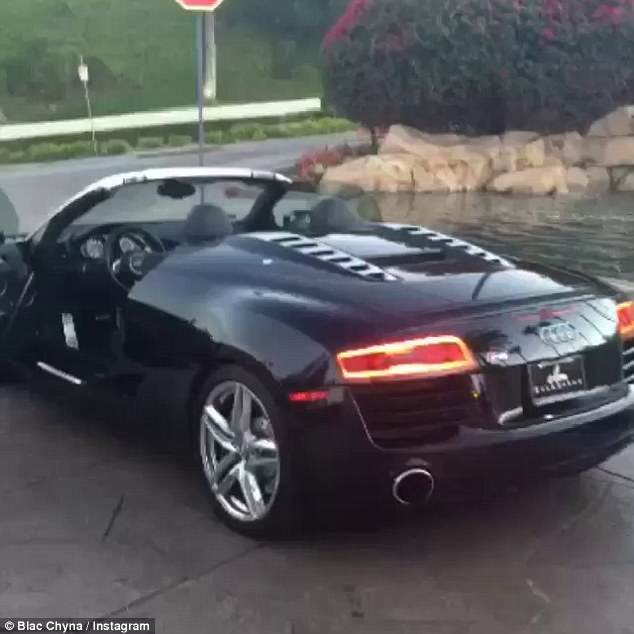 Sweet ride: Chyna doesn't seem to be taking the split too hard as she shared a video of her brand new Audi R8 on Tuesday