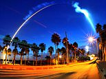 A United Launch Alliance Atlas V rocket with a U.S. Navy satellite aboard lights up the sky, as seen from east over the Hubert Humphrey Bridge into Merritt Island, Fla., early Wednesday, Sept. 2, 2015. (Craig Rubadoux/Florida Today via AP) NO SALES; MANDATORY CREDIT; MAGS OUT