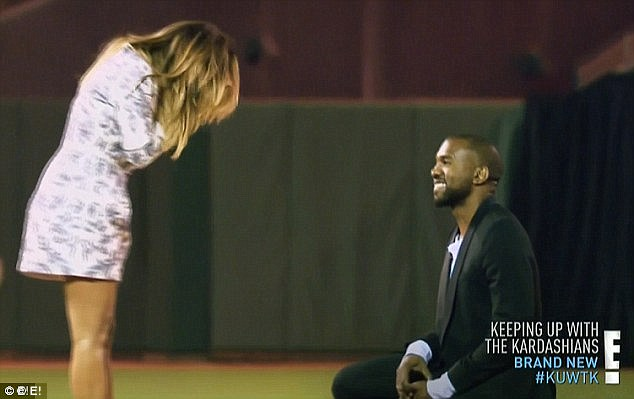 Spectacular beginnings: Already the parents of daughter North, Kanye proposed to Kim in October 2013