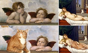 Feline arty! Artist loves her pet cat so much she's added it to works by Botticelli, Dali