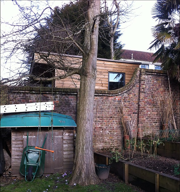 "Neighbours Sasha and Richard Savage said: 'It is huge and ugly. Not ""modest"" by any means.' Pictured is the view of the structure from one of Farhi's neighbour's garden"