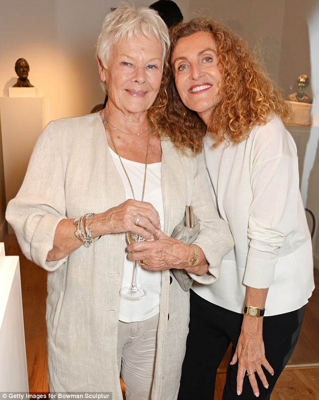 Actress Dame Judi Dench, left, and fashion designer Nicole Farhi, right, at a private view for Farhi's debut exhibition of sculptures