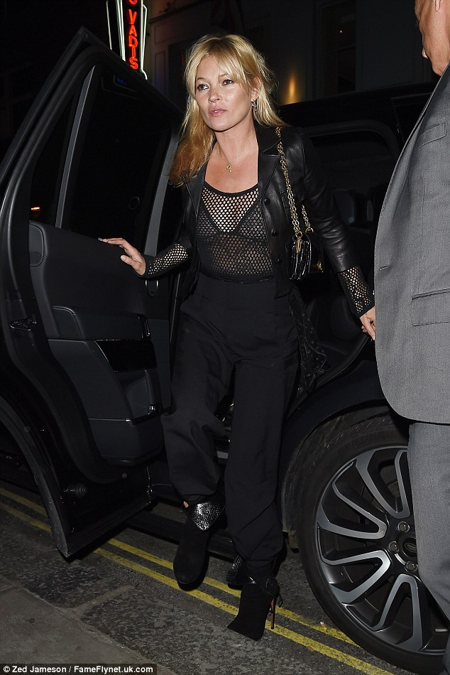 Rocky: Kate Moss hit London town in a rocky mesh ensemble on Friday night, as she stepped out to celebrate pal Nick Grimshaw's birthday