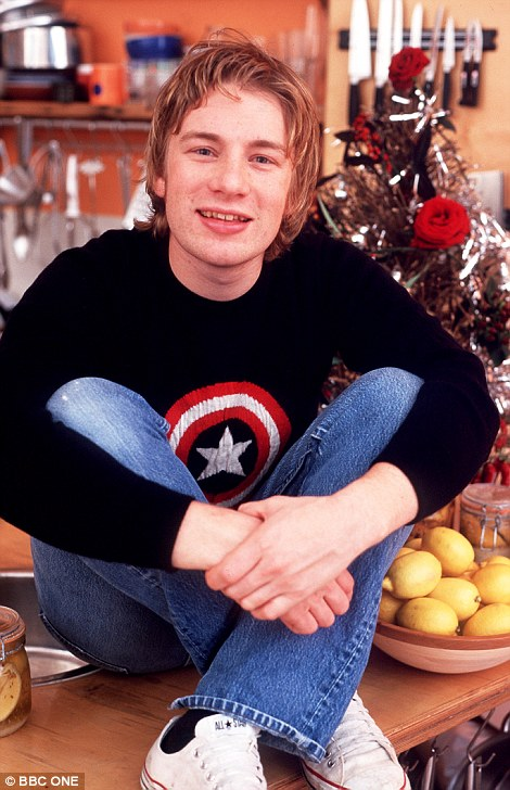 Over the years: Jamie Oliver has gone from a fresh-faced young man (left in 1999) to a fully-fledged celebrity chef with a reported£180m empire