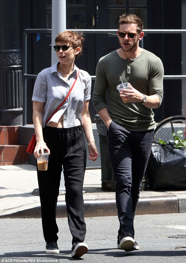 Pep in their step: The co-stars enjoyed an iced coffee during an outing in New York in August