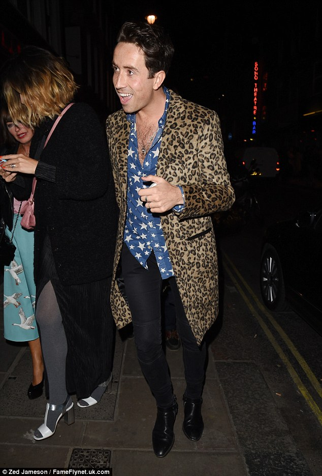 Copycat! Nick also rocked a clashing ensemble as he celebrated his birthday alongside his celebrity pals