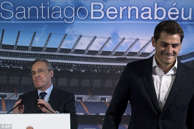 Mendes is in constant contact with Florentino Perez (left) and the agent oversaw Iker Casillas' move to Porto