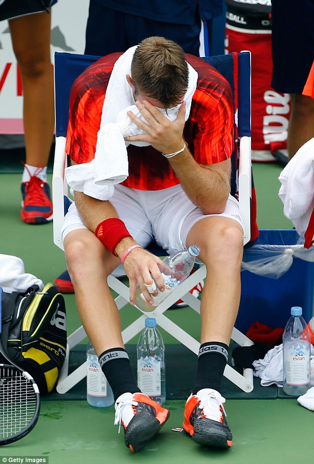 Sock was struggling to cope with the soaring heat at Flushing Meadows and eventually succumbed