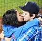 EXCLUSIVE: **PREMIUM EXCLUSIVE RATES APPLY** STRICTLY NO WEB UNTIL 130PM PST SEPTEMBER 3rd 2015** Mila Kunis and Ashton Kutcher kiss each other passionately while jumping into each other's arms celebrating a Dodgers home-run at Dodgers Stadium in Los Angeles on Tuesday. The Dodgers beat the Giants 2-1. The celebrity couple stayed to the last pitch.\n\nPictured: Mila Kunis, Ashton Kutcher\nRef: SPL1108327  020915   EXCLUSIVE\nPicture by: GAC/Splash News\n\nSplash News and Pictures\nLos Angeles: 310-821-2666\nNew York: 212-619-2666\nLondon: 870-934-2666\nphotodesk@splashnews.com\n