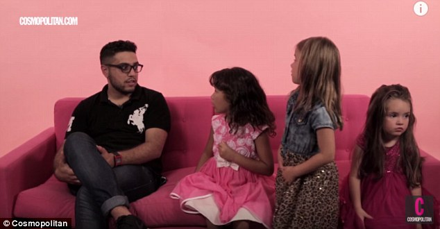 The long wait: Ramy (L) asks the girls for advice on how to handle a girl who takes two days to return his texts, with the girls recommending he 'say words to her' such as 'I like your hair'