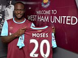 LONDON, ENGLAND - SEPTEMBER 01:  (EXCLUSIVE COVERAGE) Victor Moses poses after signing for West Ham United on a season-long loan at West Ham United's training ground, Chadwell Heath Romford on September 01, 2015 in London, England.  (Photo by Arfa Griffiths/West Ham United via Getty Images)