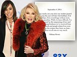 NEW YORK, NY - JANUARY 22:  Joan Rivers (R) and daughter Melissa Rivers attend An Evening With Joan And Melissa Rivers at 92nd Street Y on January 22, 2014 in New York City.  (Photo by Ilya S. Savenok/Getty Images)