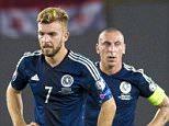 04/09/15 EURO 2016 QUALIFIER GEORGIA v SCOTLAND BORIS PAICHADZE STADIUM - GEORGIA  Dejection for the Scotland players after going behind