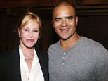 """NEW YORK, NY - SEPTEMBER 03:  (EXCLUSIVE COVERAGE) Melanie Griffith and Christopher Jackson pose backstage at the hit musical """"Hamilton"""" on Broadway at The Richard Rogers Theater on September 3, 2015 in New York City.  (Photo by Bruce Glikas/FilmMagic)"""
