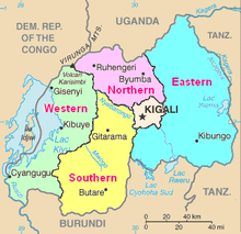 Map of Rwanda showing the five provinces in various colours, as well as major cities, lakes, rivers, and areas of neighbouring countries