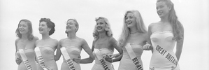 Contestants on the beach during the first Miss Universe Beauty Pageant, Long Beach, California on June 28, 1952. Photo / Getty Images