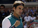 Roger Federer, of Switzerland, reacts after winning a point against Philipp Kohlschreiber, of Germany, during the third round of the U.S. Open tennis tournament, Saturday, Sept. 5, 2015, in New York. (AP Photo/Charles Krupa)
