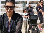 Kourtney Kardashian and her three little ones visit the farmer's market. Mason Disick, her oldest, is seen looking at his baby borther Regin in the buggy. Saturday, September 5, 2015. X17online.com