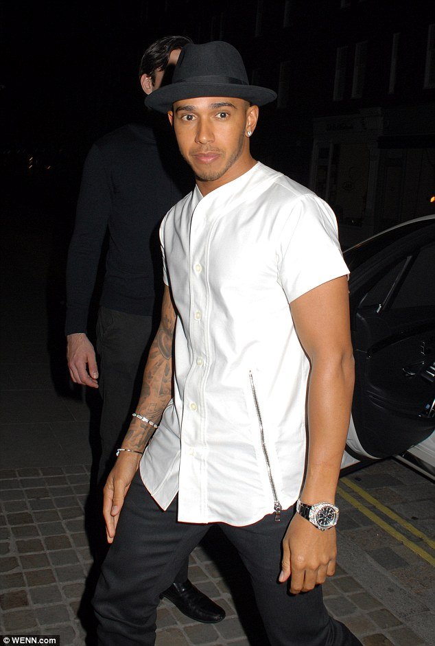 Party pal: Also attending the Chiltern Firehouse on Thursday evening was Formula 1 star Lewis Hamilton