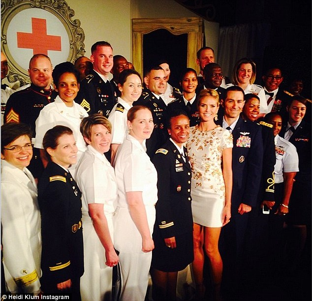 Salute to service: The blonde beauty tweeted her feelings of pride for being in the presence of the military