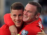 England's Ross Barkley (left) celebrates scoring his side's third goal of the game with Wayne Rooney during the UEFA European Championship Qualifying match at the Stadio Olimpico di Serravalle. PRESS ASSOCIATION Photo. Picture date: Saturday September 5, 2015. See PA story SOCCER San Marino. Photo credit should read: Mike Egerton/PA Wire. RESTRICTIONS: Use subject to FA restrictions. Editorial use only. Commercial use only with prior written consent of the FA. No editing except cropping. Call +44 (0)1158 447447 or see www.paphotos.com/info/ for full restrictions and further information.