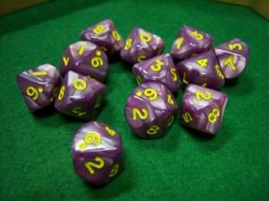 Pearlized Red and Gold Dice