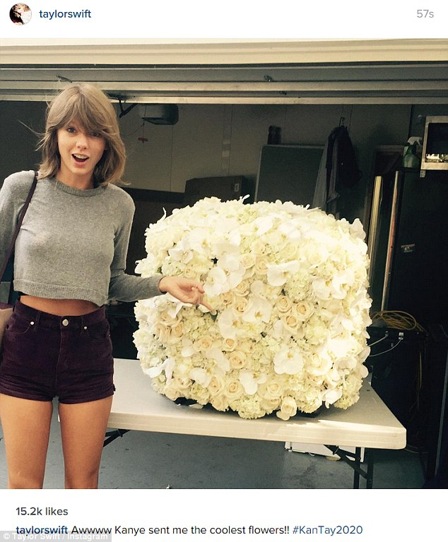 What a gift! Taylor Swift took to Instagram on Friday to share this picture the white flowers she received from Kanye West